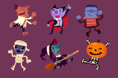 Halloween characters dancing in party stock illustration