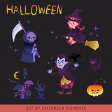Halloween characters design cartoon illustration Royalty Free Stock Images