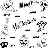 Halloween characters doodle set Royalty Free Stock Photos