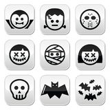Halloween characters - Dracula, Frankenstein, mummy buttons Royalty Free Stock Photos
