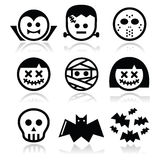 Halloween characters - Dracula, Frankenstein, mummy icons. Vector icons set of creepy or scary Halloween characters  on white Royalty Free Stock Photography
