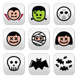 Halloween characters - Dracula, monster, mummy buttons. Vector buttons set of creepy or scary Halloween characters isolated on white Stock Photos