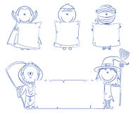 Halloween characters with empty banner Royalty Free Stock Image