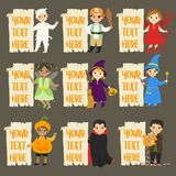 Halloween Characters and Empty Banners Vector Set Royalty Free Stock Photography