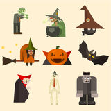 Halloween Characters in Flat Style Vector Royalty Free Stock Image
