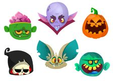 Halloween characters icon set. Cartoon heads of grim reaper  bat   pumpkin Jack o lntern  zombie vampire. Halloween characters icon set. Cartoon heads of grim Royalty Free Stock Photos