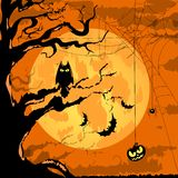 Happy Halloween Poster For Design. Halloween Characters and Icons for Halloween in Cartoon Style on Moon Background Stock Images