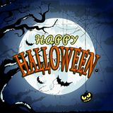 Happy Halloween Poster For Design. Halloween Characters and Icons for Halloween in Cartoon Style on Moon Background Royalty Free Stock Images