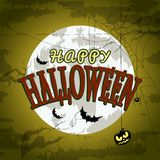 Happy Halloween Poster For Design. Halloween Characters and Icons for Halloween in Cartoon Style on Moon Background Royalty Free Stock Image