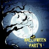 Happy Halloween Poster For Design.  Banner. Halloween Characters and Icons for Halloween in Cartoon Style on Moon Background Royalty Free Stock Photos