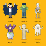 Halloween Characters Icons Set Stylish Party Roles Stock Photos