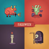 Halloween characters line flat design modern icons set Stock Images
