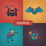 Halloween characters line flat design modern icons set. Halloween - modern vector line flat design characters icons set. Funny scary pumpkin, bat, zombie, owl Royalty Free Stock Photo