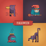 Halloween characters line flat design modern icons set Stock Photo