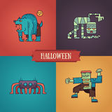 Halloween characters line flat design modern icons set Royalty Free Stock Image