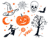Halloween characters and objects Royalty Free Stock Photos