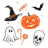 Halloween characters and objects. Stock Images