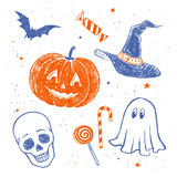 Halloween characters and objects. Collection of two color violet and orange pencil drawings of Halloween characters and objects Stock Photography