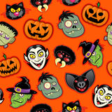 Halloween Characters Seamless Pattern Stock Images