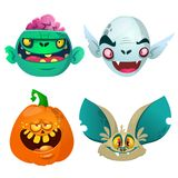 Halloween characters  set. Cartoon of bat pumpkin Jack o lntern zombie vampire. Royalty Free Stock Photography