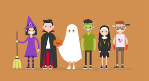 Halloween characters set: witch, Dracula, ghost, Frankenstein, nun, maniac. / flat   illustration, clip art Royalty Free Stock Photography