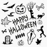 Halloween-Charakter-Ikonen und Symbole Stockbild
