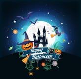 Halloween-Charakter und -element entwerfen Ausweis auf Vollmond Hintergrund, Süßes sonst gibt's Saures Konzept, Vektorillustratio Stockfotos