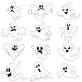 Halloween-Charaktere stellten von den furchtsamen Geistern für Design ein lizenzfreie stockfotografie
