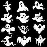 Halloween-Charaktere stellten von den furchtsamen weißen Geistern für Design lokalisiert ein lizenzfreie stockfotografie