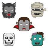 Halloween-Charaktergesichter Stockfotos