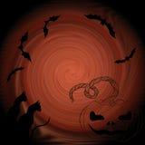 Halloween : chauves-souris, chat, potiron - composition décorative Image stock