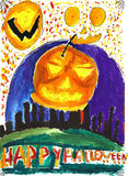 Halloween child drawing Stock Photos