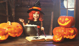 Halloween. child girl witch preparing  potion in cauldron with p Royalty Free Stock Photography