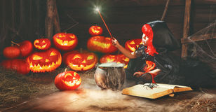 Halloween. child girl witch preparing  potion in cauldron with p Stock Photography