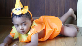 Halloween. Child wearing Halloween costume at home Stock Photos