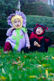 Halloween Children. Two sisters in their halloween costumes Royalty Free Stock Photos