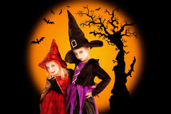 Halloween children girls with tree and bats Stock Photos
