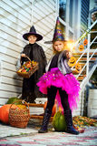 Halloween children. Happy children in a costumes of witches and wizards celebrating halloween. Trick or treat. Halloween party Royalty Free Stock Photos