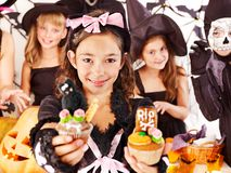Halloween  with children holding trick or treat. Halloween party with group children holding trick or treat Stock Photography