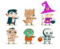 Halloween children costume kids masquerade fantasy RPG game party characters icons set vector illustration Royalty Free Stock Photos