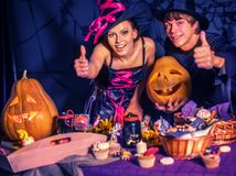 Halloween children party with parents. stock photo
