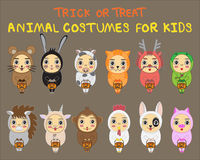 Halloween children trick or treating in Halloween costume Royalty Free Stock Photography