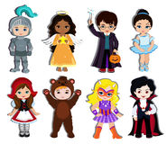 Halloween children trick or treating in Halloween costume. Royalty Free Stock Photos