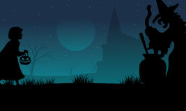 Halloween childs and witch silhouette Stock Photography