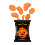 Halloween chips with pumpkin flavor. Snacks for dreaded holiday Stock Image