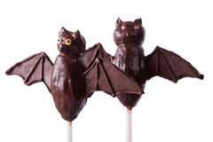 Halloween chocolate cake pop bats  on white. horizontal Stock Images