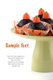 Halloween chocolate cupcakes. On pale green pedestal plate on white background in vertical format Stock Images