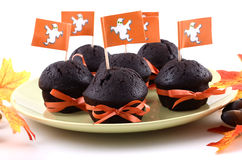 Halloween chocolate cupcakes. On pale green plate on white background in horizontal format Stock Photos