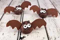 Halloween chocolate donut hole bats against white wood Stock Images