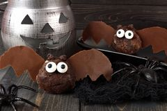 Halloween chocolate donut hole bats with decor Stock Image
